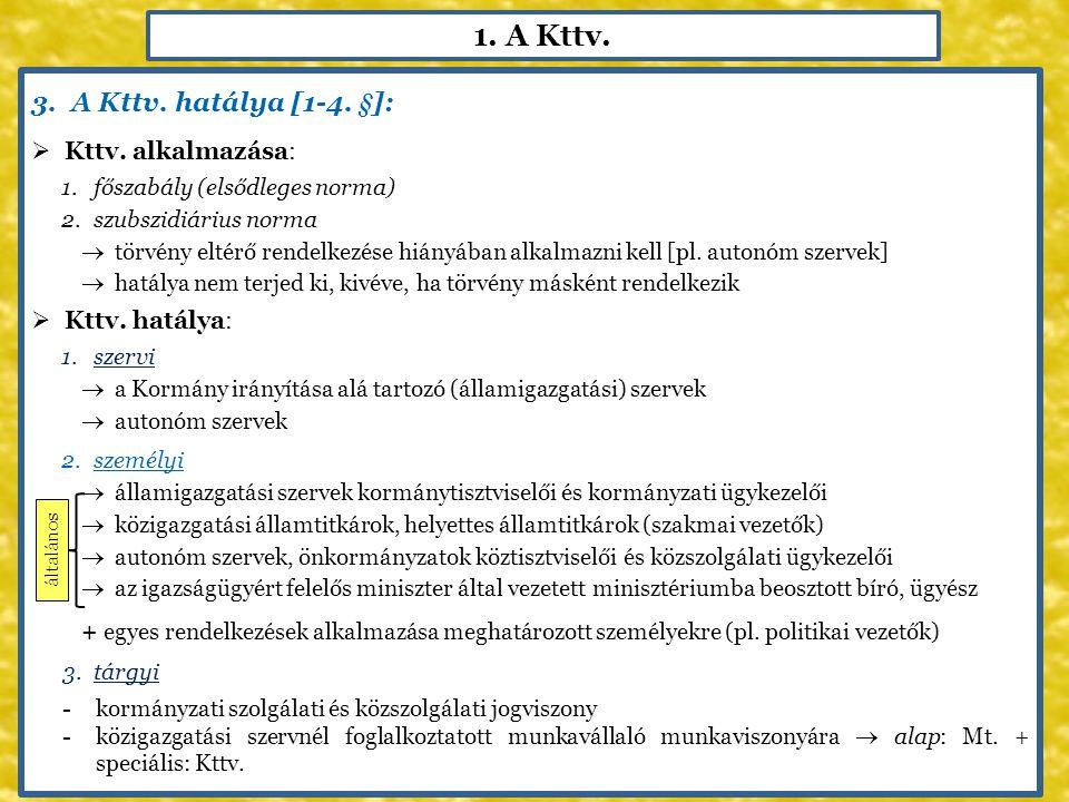1. A Kttv. A Kttv. hatálya [1-4. §]: Kttv. alkalmazása: Kttv. hatálya: